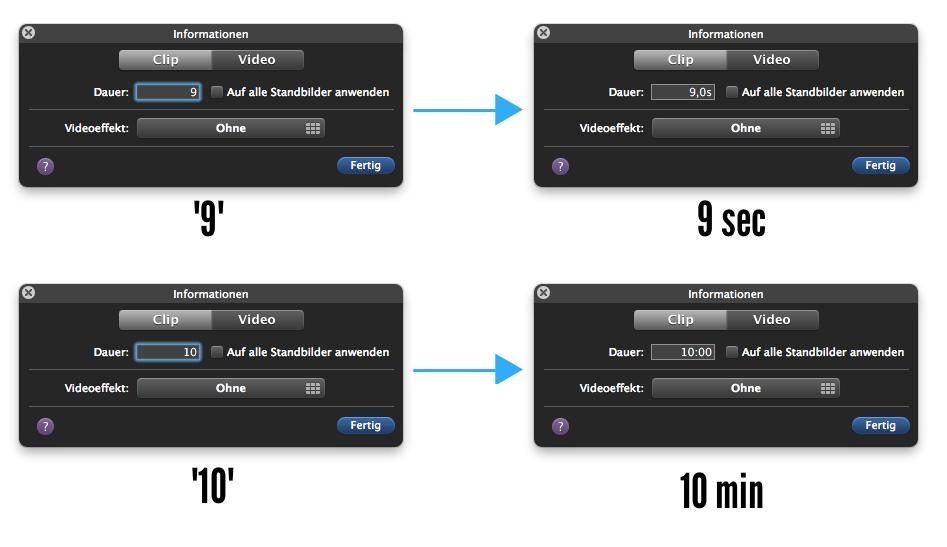 iMovie Sekunden und Minuten